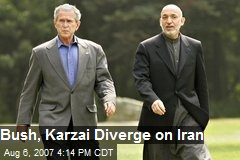 Bush, Karzai Diverge on Iran