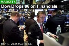 Dow Drops 86 on Financials