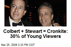 Colbert + Stewart = Cronkite: 30% of Young Viewers