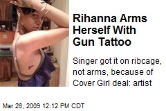 Rihanna Arms Herself With Gun Tattoo