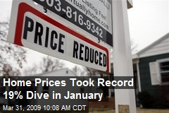 Home Prices Took Record 19% Dive in January