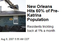 New Orleans Hits 60% of Pre-Katrina Population