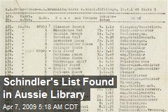 Schindler's List Found in Aussie Library
