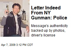 Letter Indeed From NY Gunman: Police