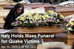 Italy Holds Mass Funeral for Quake Victims