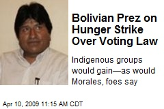 Bolivian Prez on Hunger Strike Over Voting Law