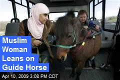 Muslim Woman Leans on Guide Horse