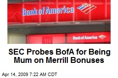 SEC Probes BofA for Being Mum on Merrill Bonuses