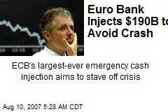 Euro Bank Injects $190B to Avoid Crash