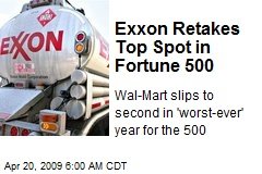 Exxon Retakes Top Spot in Fortune 500
