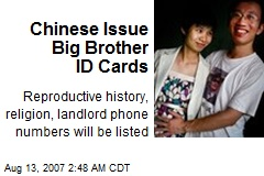 Chinese Issue Big Brother ID Cards
