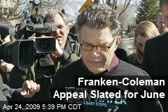 Franken-Coleman Appeal Slated for June