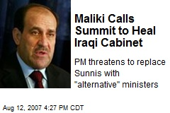 Maliki Calls Summit to Heal Iraqi Cabinet