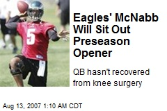 Eagles' McNabb Will Sit Out Preseason Opener