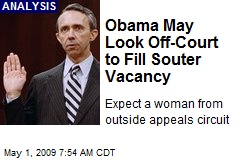 Obama May Look Off-Court to Fill Souter Vacancy