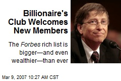 Billionaire's Club Welcomes New Members