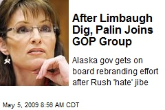 After Limbaugh Dig, Palin Joins GOP Group