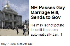 NH Passes Gay Marriage Bill, Sends to Gov