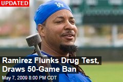 Ramirez Flunks Drug Test, Draws 50-Game Ban