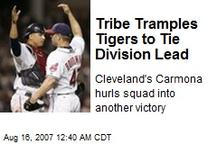 Tribe Tramples Tigers to Tie Division Lead
