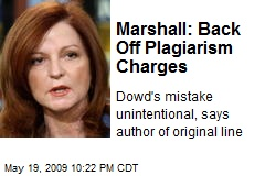 Marshall: Back Off Plagiarism Charges