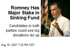 Romney Has Major Stake in Sinking Fund