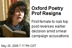 Oxford Poetry Prof Resigns