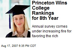 Princeton Wins College Rankings for 8th Year