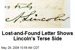 Lost-and-Found Letter Shows Lincoln's Terse Side