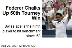 Federer Chalks Up 50th Tourney Win