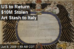 US to Return $10M Stolen Art Stash to Italy