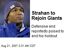 Strahan to Rejoin Giants