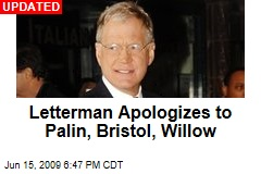 Letterman Apologizes to Palin, Bristol, Willow