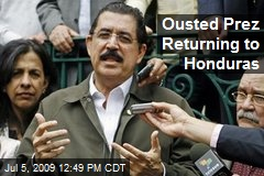 Ousted Prez Returning to Honduras