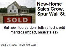 New-Home Sales Grow, Spur Wall St.