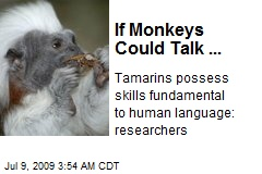 If Monkeys Could Talk ...