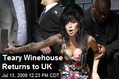 Teary Winehouse Returns to UK