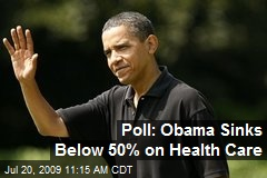 Poll: Obama Sinks Below 50% on Health Care