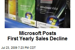 Microsoft Posts First Yearly Sales Decline