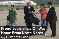 Freed Journalists On Way Home From North Korea