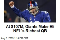 At $107M, Giants Make Eli NFL's Richest QB