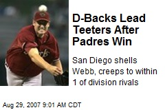 D-Backs Lead Teeters After Padres Win