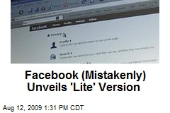 Facebook (Mistakenly) Unveils 'Lite' Version