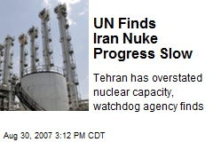 UN Finds Iran Nuke Progress Slow
