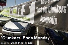 'Clunkers' Ends Monday