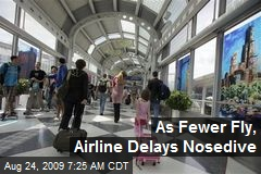 As Fewer Fly, Airline Delays Nosedive