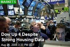 Dow Up 4 Despite Strong Housing Data