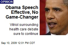 Obama Speech Effective, No Game-Changer
