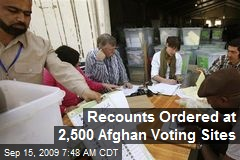 Recounts Ordered at 2,500 Afghan Voting Sites
