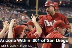 Arizona Within .001 of San Diego